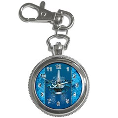 Surf, Surfboard With Water Drops On Blue Background Key Chain Watches by FantasyWorld7