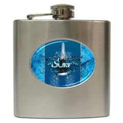 Surf, Surfboard With Water Drops On Blue Background Hip Flask (6 Oz) by FantasyWorld7
