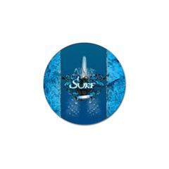 Surf, Surfboard With Water Drops On Blue Background Golf Ball Marker by FantasyWorld7