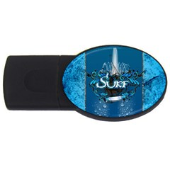 Surf, Surfboard With Water Drops On Blue Background Usb Flash Drive Oval (2 Gb)  by FantasyWorld7