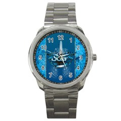 Surf, Surfboard With Water Drops On Blue Background Sport Metal Watches by FantasyWorld7