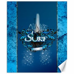 Surf, Surfboard With Water Drops On Blue Background Canvas 8  X 10  by FantasyWorld7