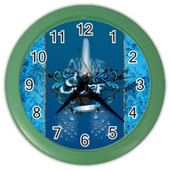 Surf, Surfboard With Water Drops On Blue Background Color Wall Clocks by FantasyWorld7