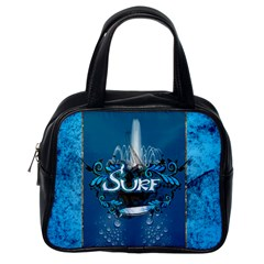 Surf, Surfboard With Water Drops On Blue Background Classic Handbags (one Side) by FantasyWorld7