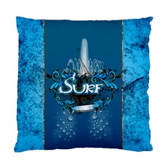 Surf, Surfboard With Water Drops On Blue Background Standard Cushion Case (one Side)  by FantasyWorld7