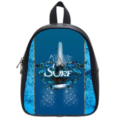 Surf, Surfboard With Water Drops On Blue Background School Bags (small)  by FantasyWorld7