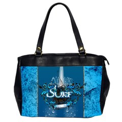 Surf, Surfboard With Water Drops On Blue Background Office Handbags (2 Sides)  by FantasyWorld7