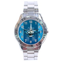 Surf, Surfboard With Water Drops On Blue Background Stainless Steel Men s Watch by FantasyWorld7