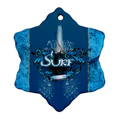 Surf, Surfboard With Water Drops On Blue Background Snowflake Ornament (2 Side) by FantasyWorld7