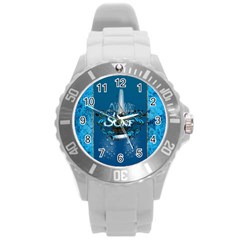 Surf, Surfboard With Water Drops On Blue Background Round Plastic Sport Watch (l) by FantasyWorld7