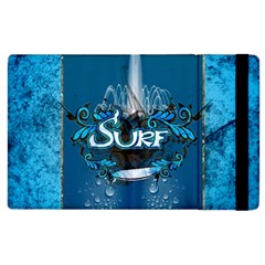 Surf, Surfboard With Water Drops On Blue Background Apple Ipad 3/4 Flip Case by FantasyWorld7