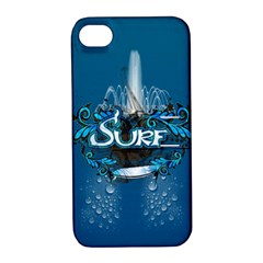 Surf, Surfboard With Water Drops On Blue Background Apple Iphone 4/4s Hardshell Case With Stand by FantasyWorld7