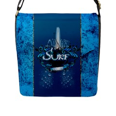 Surf, Surfboard With Water Drops On Blue Background Flap Messenger Bag (l)  by FantasyWorld7