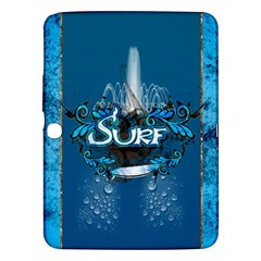 Surf, Surfboard With Water Drops On Blue Background Samsung Galaxy Tab 3 (10 1 ) P5200 Hardshell Case