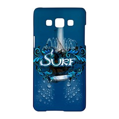 Surf, Surfboard With Water Drops On Blue Background Samsung Galaxy A5 Hardshell Case  by FantasyWorld7