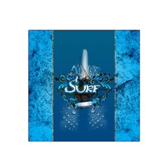 Surf, Surfboard With Water Drops On Blue Background Satin Bandana Scarf by FantasyWorld7
