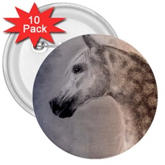 Grey Arabian Horse 3  Buttons (10 Pack)  by TwoFriendsGallery