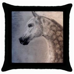 Grey Arabian Horse Throw Pillow Cases (black) by TwoFriendsGallery