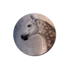 Grey Arabian Horse Rubber Round Coaster (4 Pack)  by TwoFriendsGallery