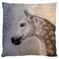 Grey Arabian Horse Large Cushion Cases (one Side)  by TwoFriendsGallery