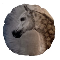 Grey Arabian Horse Large 18  Premium Round Cushions by TwoFriendsGallery