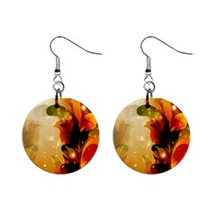 Awesome Colorful, Glowing Leaves  Mini Button Earrings by FantasyWorld7