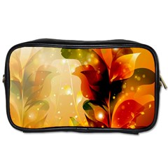 Awesome Colorful, Glowing Leaves  Toiletries Bags 2 Side by FantasyWorld7