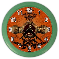 Wonderful Golden Clef On A Button With Floral Elements Color Wall Clocks by FantasyWorld7