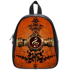 Wonderful Golden Clef On A Button With Floral Elements School Bags (small)  by FantasyWorld7