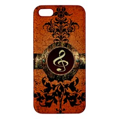 Wonderful Golden Clef On A Button With Floral Elements Apple Iphone 5 Premium Hardshell Case by FantasyWorld7