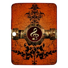 Wonderful Golden Clef On A Button With Floral Elements Samsung Galaxy Tab 3 (10 1 ) P5200 Hardshell Case