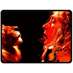 Robert And The Lion Fleece Blanket (large)  by SaraThePixelPixie