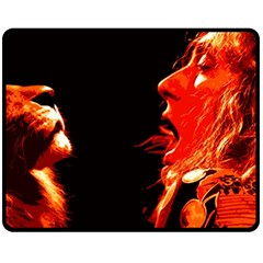 Robert And The Lion Fleece Blanket (medium)  by SaraThePixelPixie