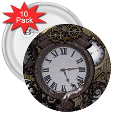 Steampunk, Awesome Clocks With Gears, Can You See The Cute Gescko 3  Buttons (10 Pack)  by FantasyWorld7