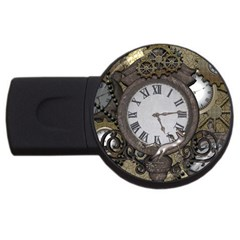 Steampunk, Awesome Clocks With Gears, Can You See The Cute Gescko Usb Flash Drive Round (2 Gb)  by FantasyWorld7