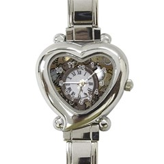 Steampunk, Awesome Clocks With Gears, Can You See The Cute Gescko Heart Italian Charm Watch by FantasyWorld7