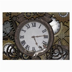 Steampunk, Awesome Clocks With Gears, Can You See The Cute Gescko Large Glasses Cloth