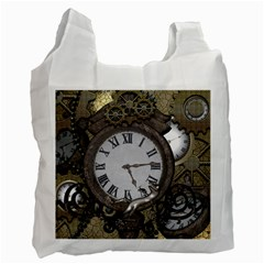 Steampunk, Awesome Clocks With Gears, Can You See The Cute Gescko Recycle Bag (one Side) by FantasyWorld7