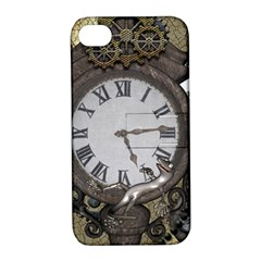 Steampunk, Awesome Clocks With Gears, Can You See The Cute Gescko Apple Iphone 4/4s Hardshell Case With Stand by FantasyWorld7