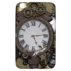 Steampunk, Awesome Clocks With Gears, Can You See The Cute Gescko Samsung Galaxy Tab 3 (8 ) T3100 Hardshell Case  by FantasyWorld7