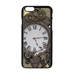 Steampunk, Awesome Clocks With Gears, Can You See The Cute Gescko Apple Iphone 6/6s Black Enamel Case
