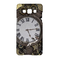 Steampunk, Awesome Clocks With Gears, Can You See The Cute Gescko Samsung Galaxy A5 Hardshell Case