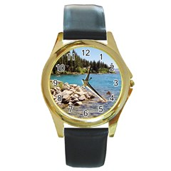 Nevada Lake Tahoe  Round Gold Metal Watches by TwoFriendsGallery