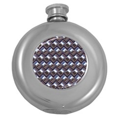 Metal Weave Blue Round Hip Flask (5 Oz) by MoreColorsinLife