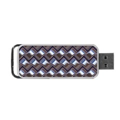 Metal Weave Blue Portable Usb Flash (one Side)