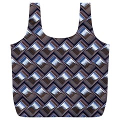 Metal Weave Blue Full Print Recycle Bags (l)  by MoreColorsinLife