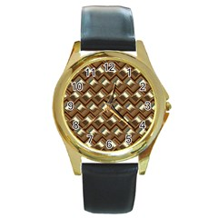 Metal Weave Golden Round Gold Metal Watches