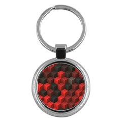 Artistic Cubes 7 Red Black Key Chains (round)  by MoreColorsinLife