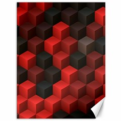Artistic Cubes 7 Red Black Canvas 36  X 48