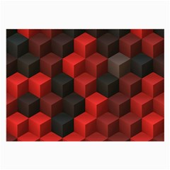 Artistic Cubes 7 Red Black Large Glasses Cloth by MoreColorsinLife